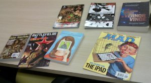 comics & magazines I bought yesterday, except the Vinge, which I had brought with me