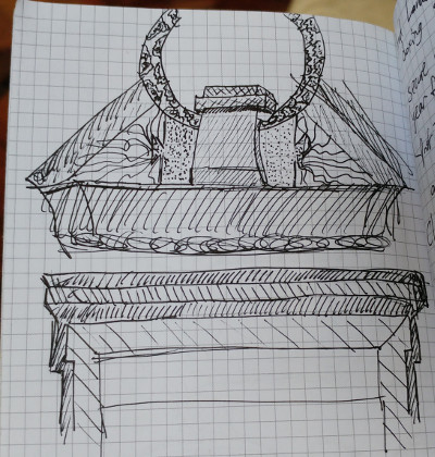 pen and ink sketches of decorative moldings in NYC Council chamber