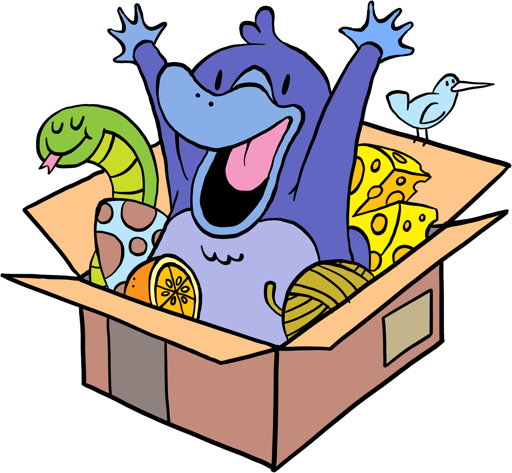The Python Packaging platypus mascot, a purple platypus happily springing out of a crowded cardboard box