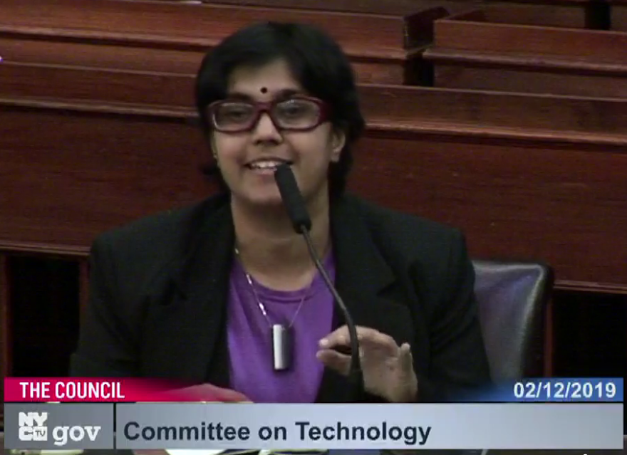 Sumana Harihareswara speaking into a microphone at Technology Committee meeting on 12 Feb 2019